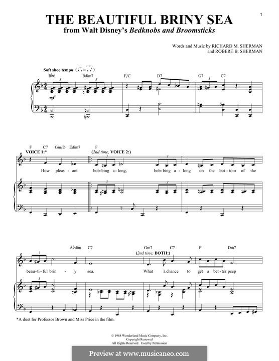 The Beautiful Briny Sea (from Disney's Bedknobs and Broomsticks): Для голоса и фортепиано by Richard M. Sherman, Robert B. Sherman