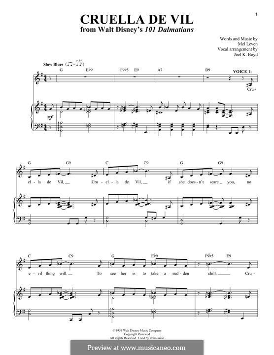 Cruella de Vil (from 101 Dalmatians): Для голоса и фортепиано by Mel Leven
