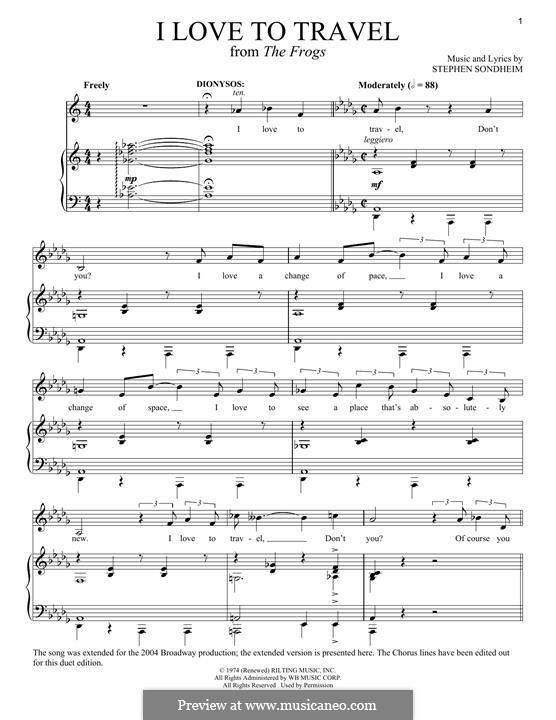 I Love To Travel: Для голоса и фортепиано by Stephen Sondheim