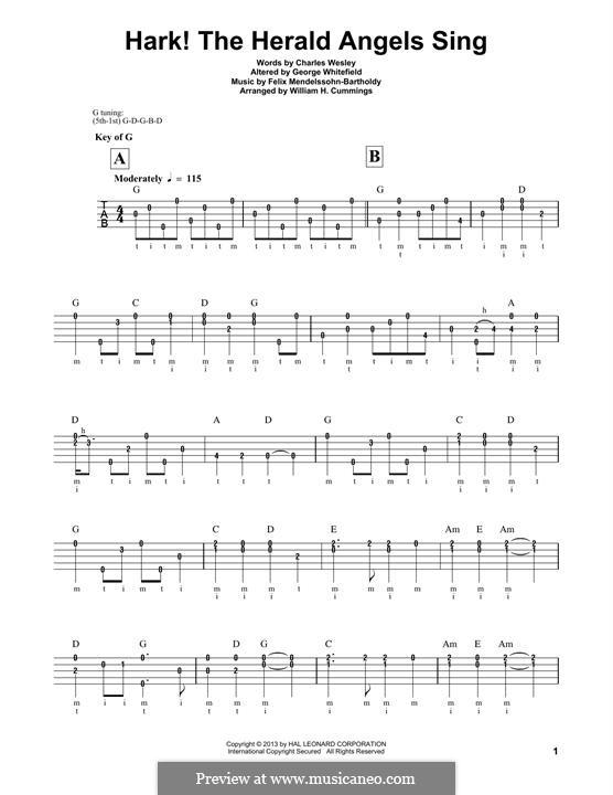 Hark! The Herald Angels Sing, for Solo Instrument: For banjo by Феликс Мендельсон-Бартольди