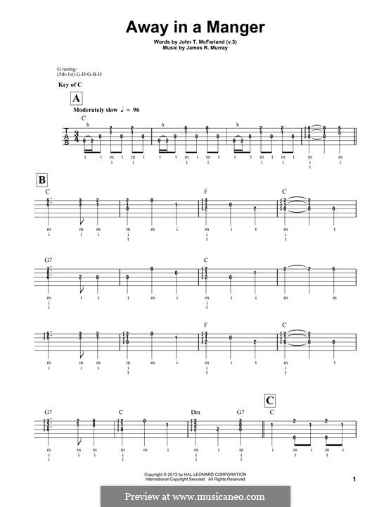 Away in a Manger (Printable Scores): For banjo by Джеймс Р. Мюррей