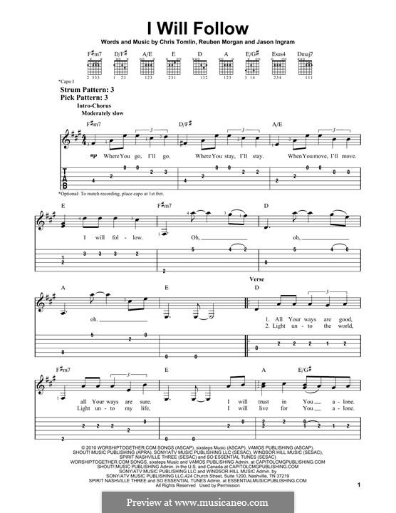 I Will Follow (Chris Tomlin): Гитарная табулатура by Jason David Ingram, Reuben Morgan