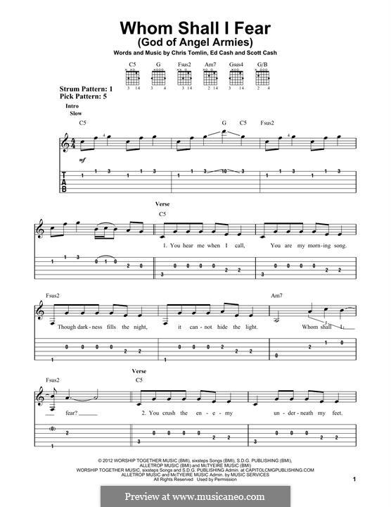 Whom Shall I Fear (God of Angel Armies): Гитарная табулатура by Chris Tomlin, Ed Cash, Scott Cash