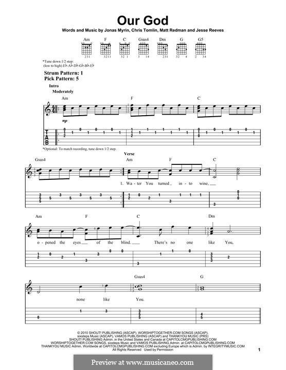 Our God: Гитарная табулатура by Chris Tomlin, Jesse Reeves, Jonas Myrin, Matt Redman