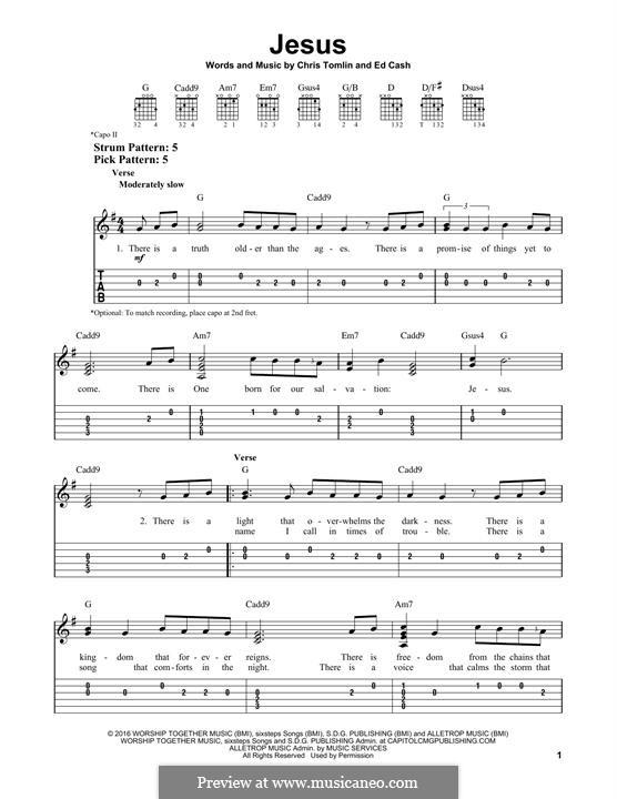 Jesus: Гитарная табулатура by Chris Tomlin, Ed Cash