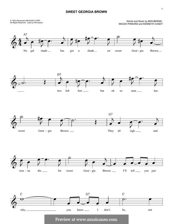Sweet Georgia Brown: Мелодия by Maceo Pinkard, Kenneth Casey