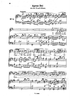 Месса ре минор: Agnus Dei. Arrangement for voice and piano by Иоганн Адольф Гассе