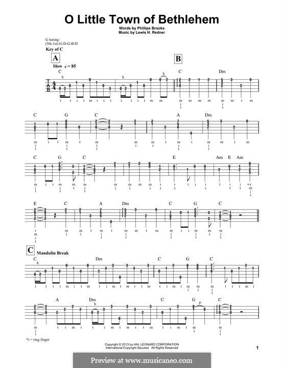 О малый город Вифлеем: For banjo by Льюис Генри Реднер