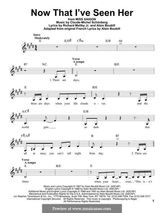 Now That I've Seen Her: Мелодия by Claude-Michel Schönberg