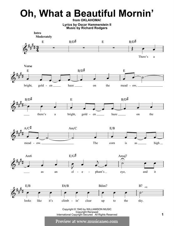 Oh, What a Beautiful Mornin' (from 'Oklahoma!'): Мелодия by Richard Rodgers