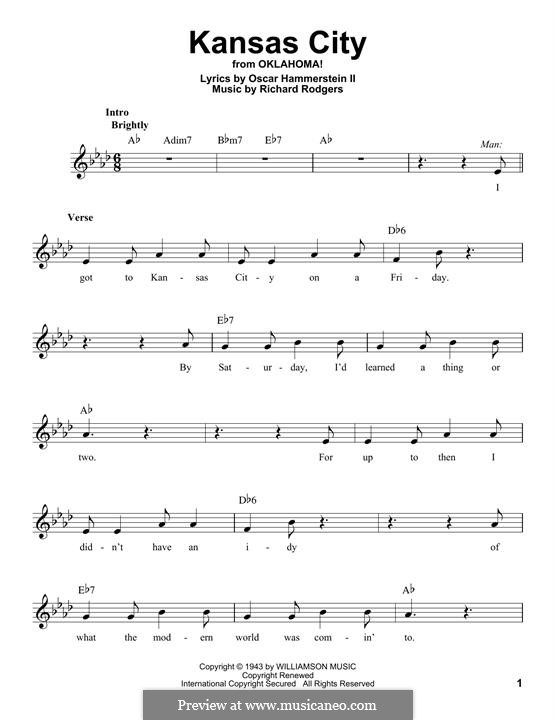 Kansas City (from Oklahoma!): Мелодия by Richard Rodgers