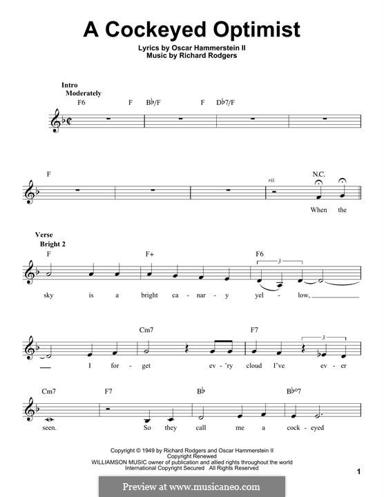 A Cockeyed Optimist: Мелодия by Richard Rodgers