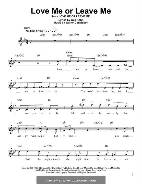 Love Me or Leave Me: Мелодия by Уолтер Дональдсон