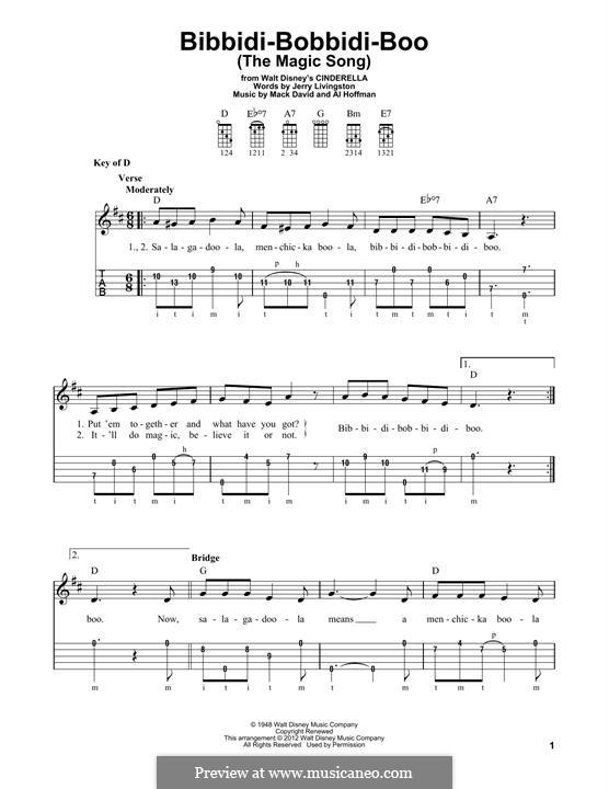 Bibbidi-Bobbidi-Boo (The Magic Song): For banjo by Al Hoffman, Mack David