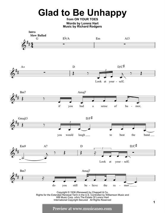 Glad to Be Unhappy: Мелодия by Richard Rodgers