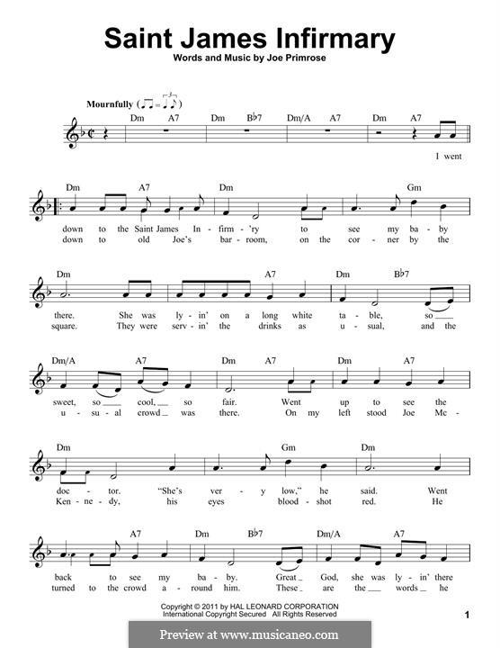 Saint James Infirmary: Мелодия by Joe Primrose