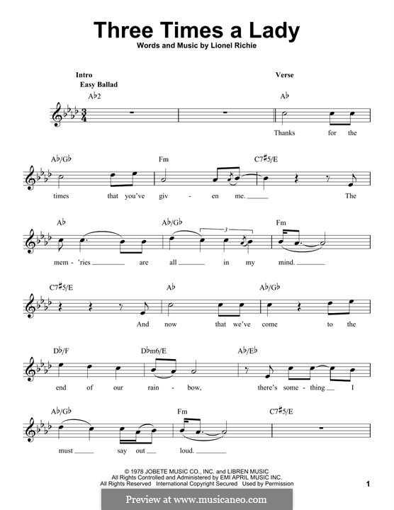 Three Times a Lady: Мелодия by Lionel Richie