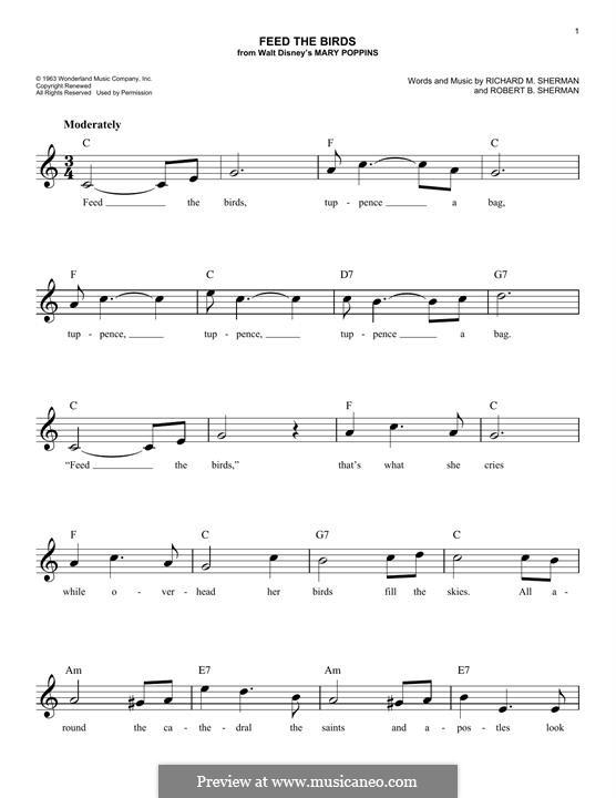 Feed the Birds (Tuppence a Bag): Мелодия by Richard M. Sherman, Robert B. Sherman