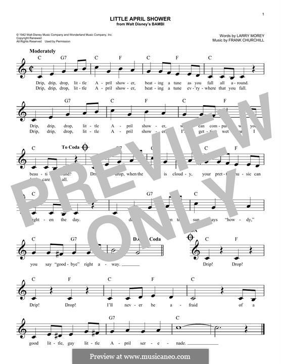 Little April Shower (from Bambi): Мелодия by Frank Churchill