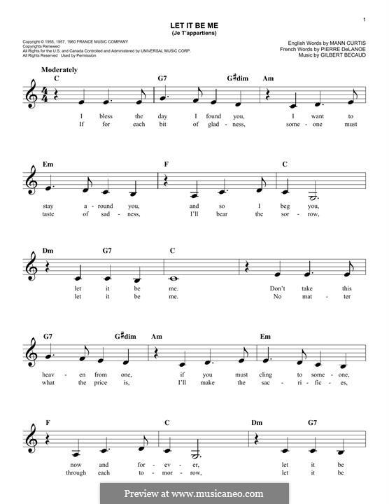 Let It Be Me (Je T'appartiens): Мелодия by Gilbert Becaud, Manny Kurtz, Pierre Delanoe