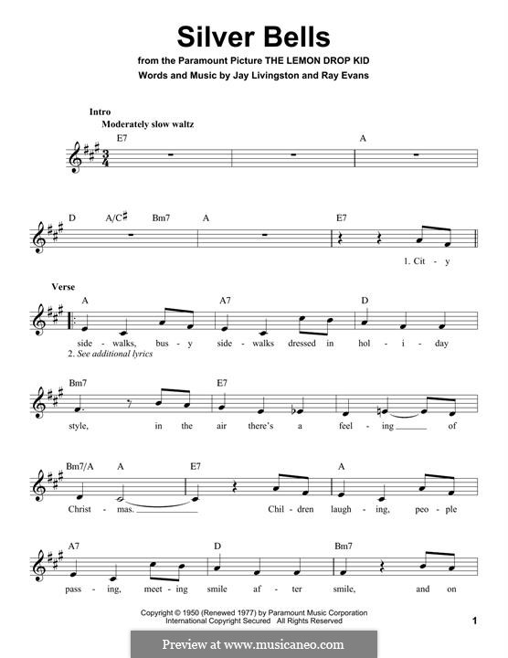 Silver Bells: Мелодия by Jay Livingston, Raymond Evans