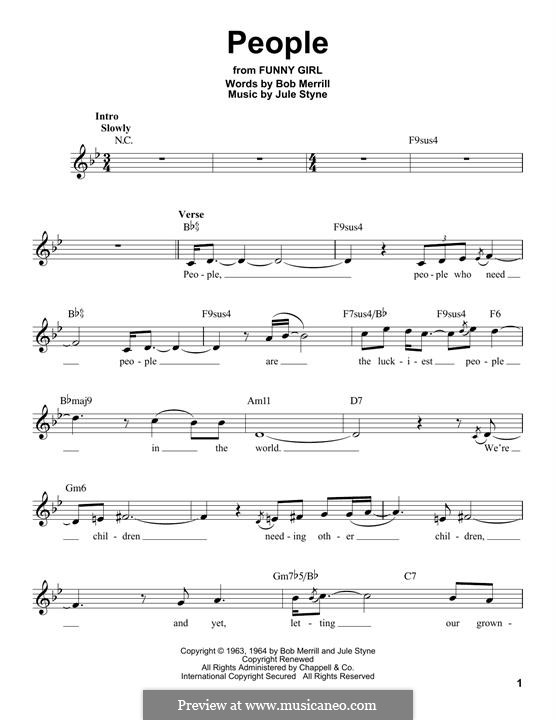 People from Funny Girl (Barbra Streisand): Мелодия by Jule Styne