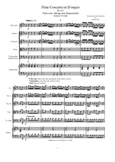 Concerto for Flute and Piano in D Major, RV 427: Score, parts by Антонио Вивальди