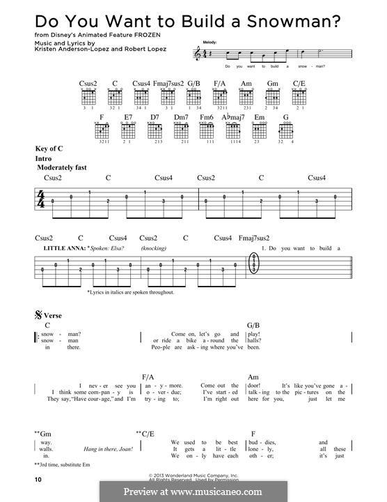 Do You Want to Build a Snowman? (Kristen Bell): Гитарная табулатура by Robert Lopez, Kristen Anderson-Lopez