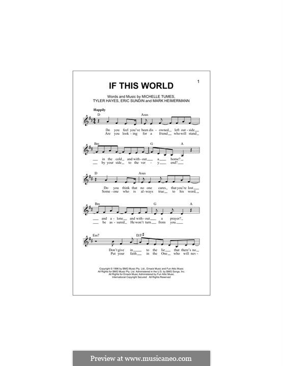 If This World (Jaci Velasquez): Мелодия by Erik Sundin, Mark Heimermann, Michelle Tumes, Tyler Hayes