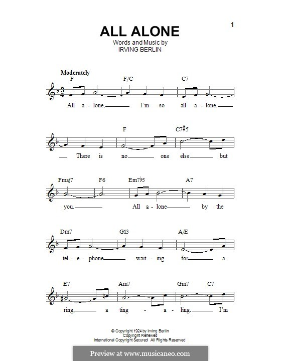 All Alone: Мелодия by Ирвинг Берлин