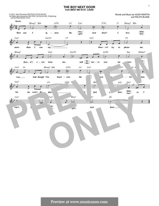 The Boy Next Door (Judy Garland): Melody line (Secrets) by Hugh Martin, Ralph Blane