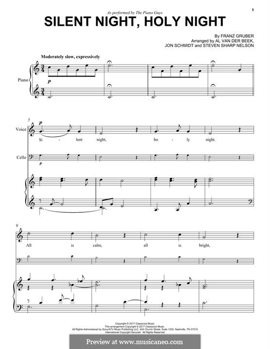 Тихая ночь (ноты для печати): For voice, cello and piano (The Piano Guys) by Франц Ксавьер Грубер