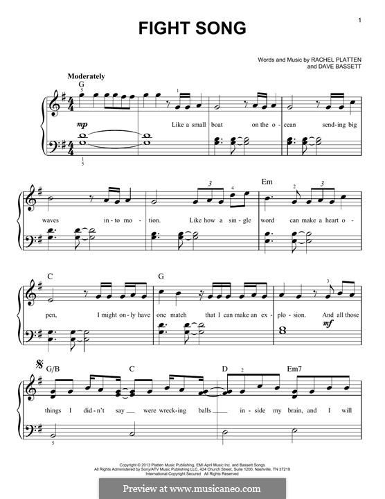 Fight Song: Для фортепиано by Dave Bassett, Rachel Platten