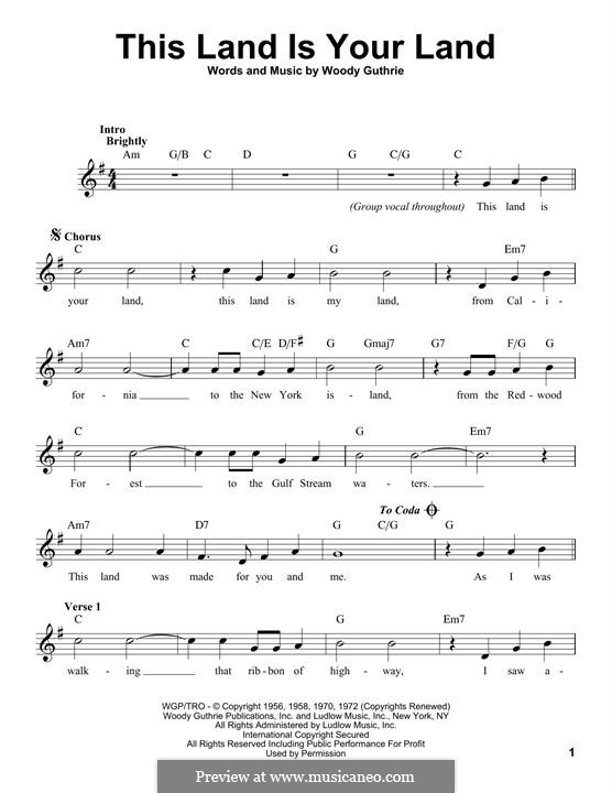 This Land Is Your Land (The New Christy Minstrels): Мелодия by Woody Guthrie