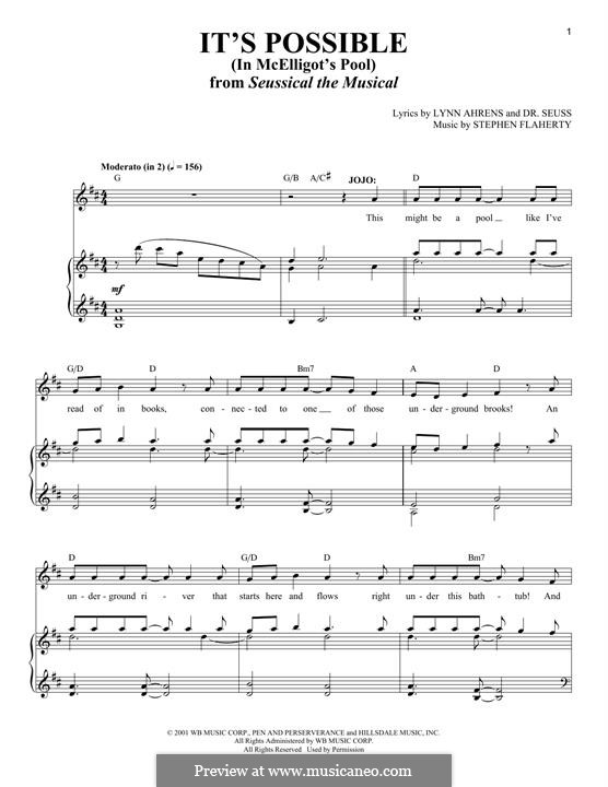 It's Possible (In McElligot's Pool): For voice and piano (solo version) by Stephen Flaherty