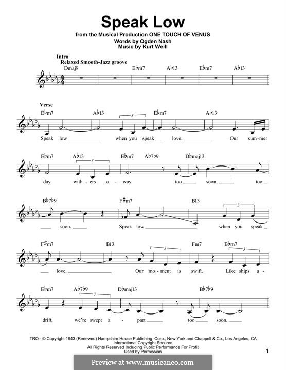 Speak Low: Мелодия by Kurt Weill