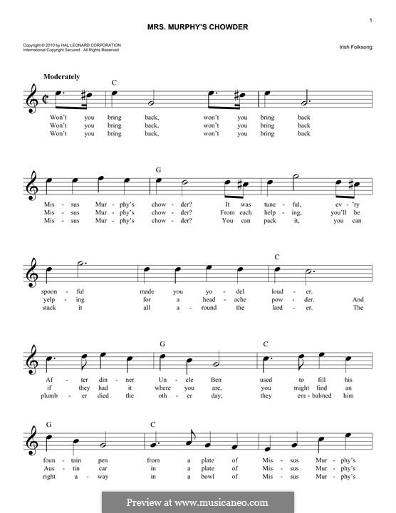 Mrs. Murphy's Chowder: Мелодия by folklore