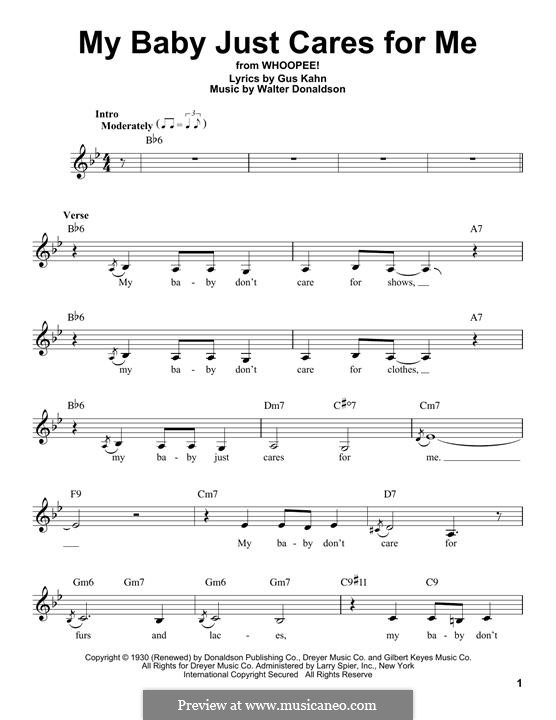 My Baby Just Cares for Me (Nina Simone): Мелодия by Уолтер Дональдсон