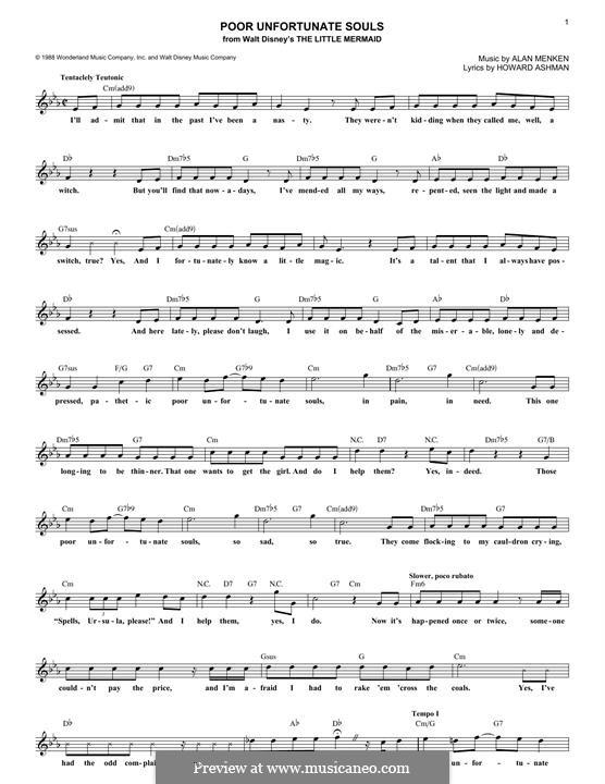 Poor Unfortunate Souls: Мелодия by Alan Menken