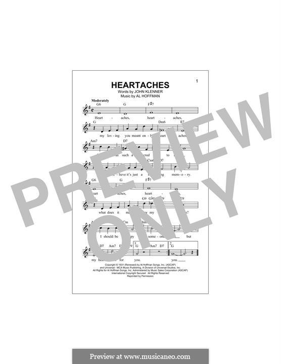 Heartaches (Pat Boone): Мелодия by Al Hoffman