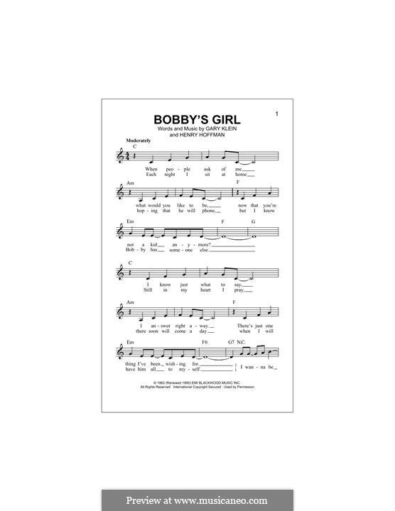Bobby's Girl (Marcie Blane): Мелодия by Gary Klein, Henry Hoffman