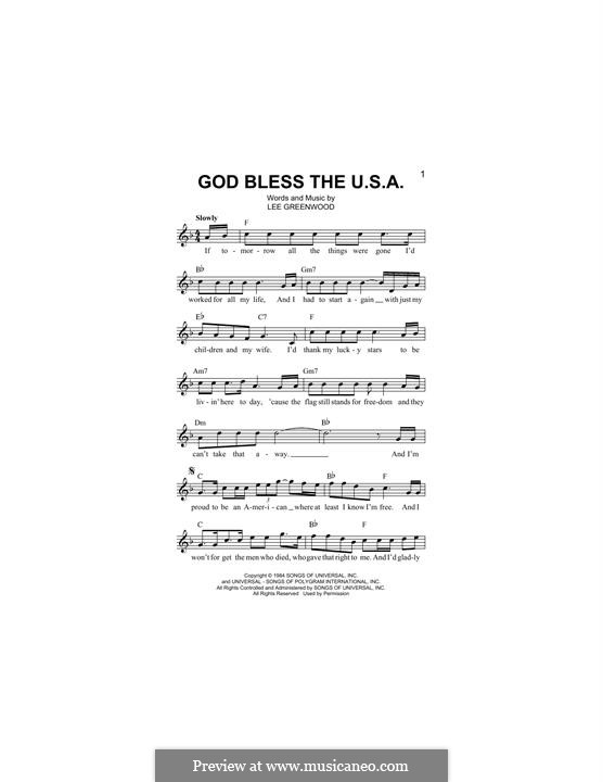 God Bless the U.S.A.: Мелодия by Lee Greenwood