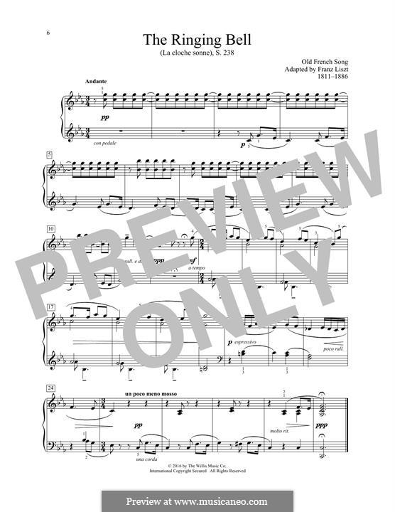 La cloche sonne, S.238: Для фортепиано by Франц Лист