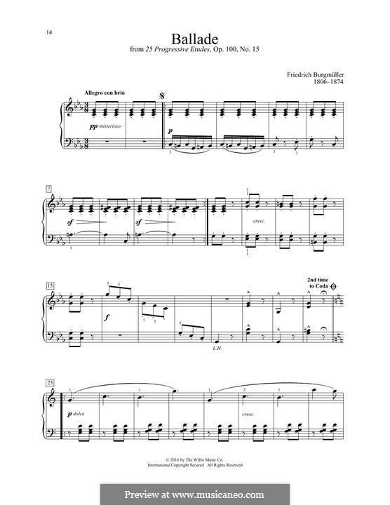 No.15 Баллада: Для фортепиано by Иоганн Фридрих Бургмюллер