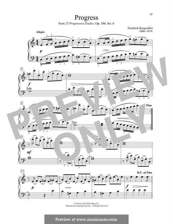 No.6 Progrès (Progress): Для фортепиано by Иоганн Фридрих Бургмюллер