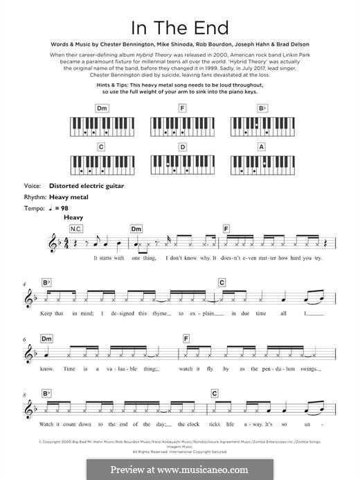 In the End (Linkin Park): Для клавишного инструмента by Brad Delson, Charles Bennington, Joseph Hahn, Mike Shinoda, Rob Bourdon