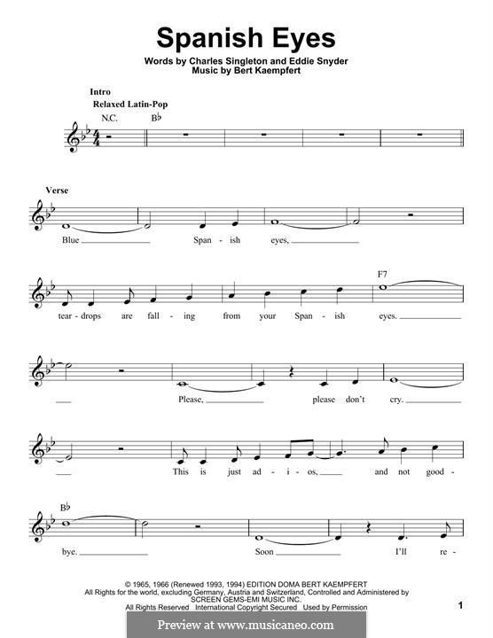 Spanish Eyes (Al Martino): Мелодия by Bert Kaempfert, Charles Singleton, Eddie Snyder