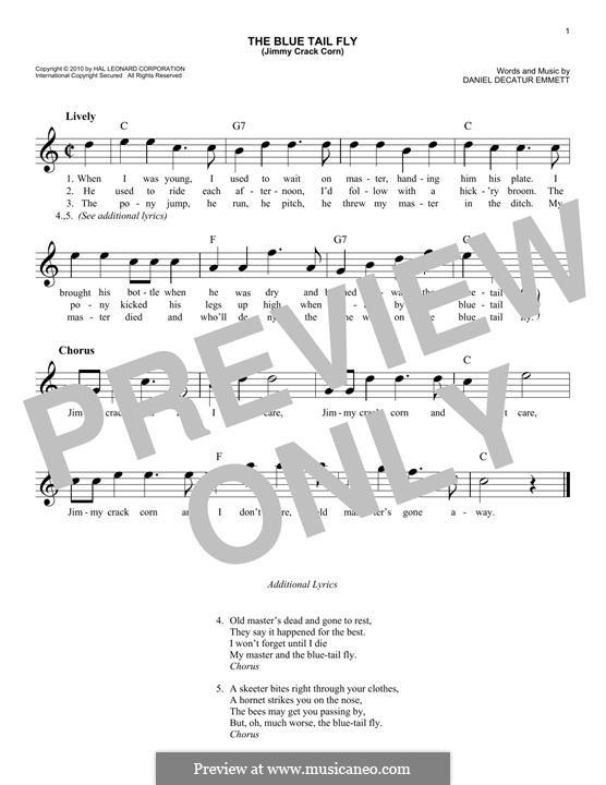 The Blue Tail Fly (Jimmy Crack Corn): Мелодия by Daniel Decatur Emmett