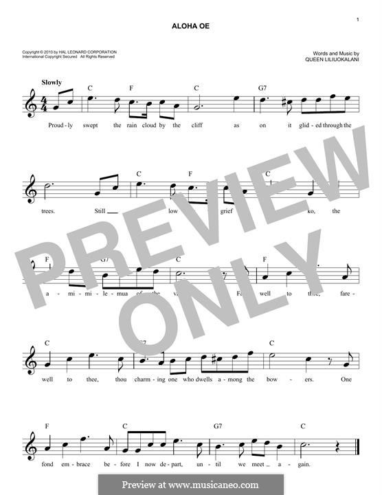 Aloha 'Oe: Мелодия by Лидия Лилиуокалани