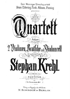 Струнный квартет ля мажор, Op.17: Партитура by Штефан Крель